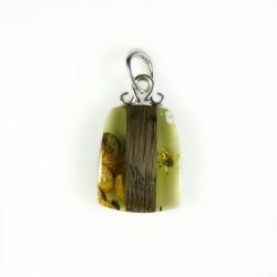 Natural Amber Pendant, Black Wood and Silver 925/1000