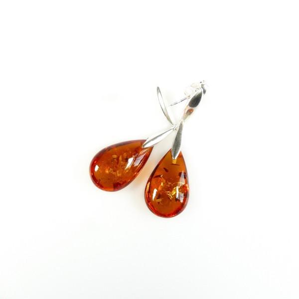 Boucle d'oreille Ambre cognac et Argent en forme de goutte d'eau