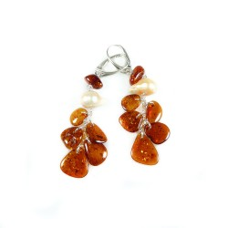 Natural Amber Earring, Pearl and Silver 925/1000