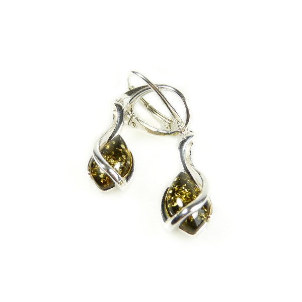 Boucle d'oreille en Ambre vert et Argent 925/1000
