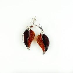 von Kaffeebohnen Ohrring bicolor Natur Bernstein und Silber