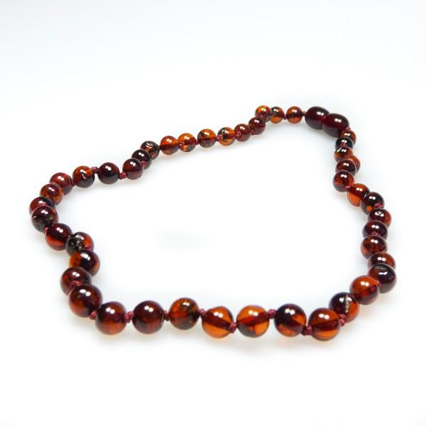Collier d'ambre bébé haut de gamme couleur cerise, perle extra-ronde