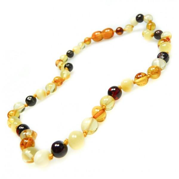 Collier d'ambre pour bébé haut de gamme, perle extra ronde