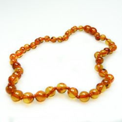 High-end cognac baby amber necklace, extra round pearl