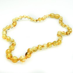 Lemon baby amber necklace, extra round pearl