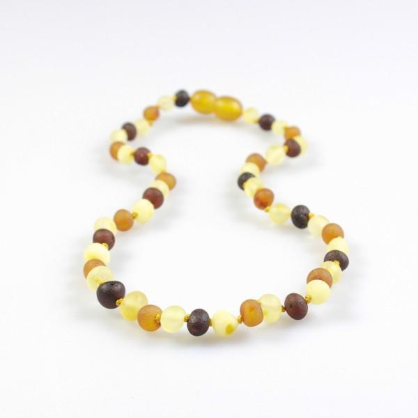 Collier d'ambre bébé multicolore, ambre brut