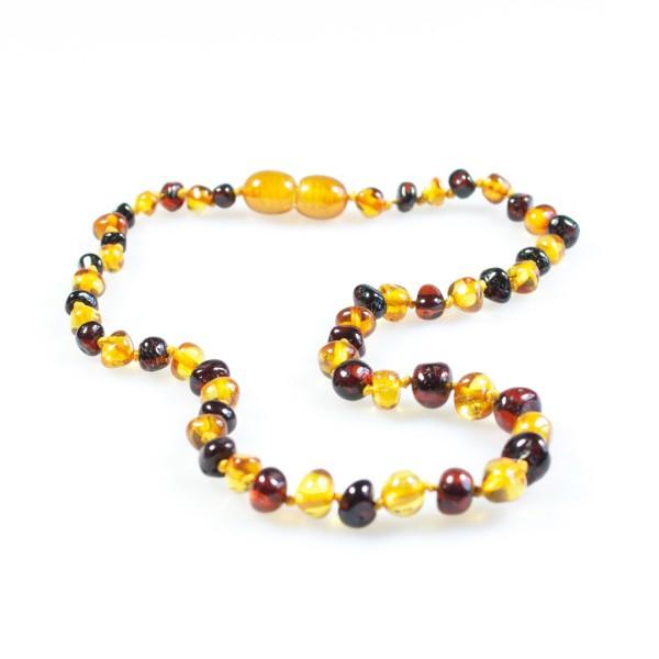 Collier d'ambre bébé, perle ronde couleur miel et cerise