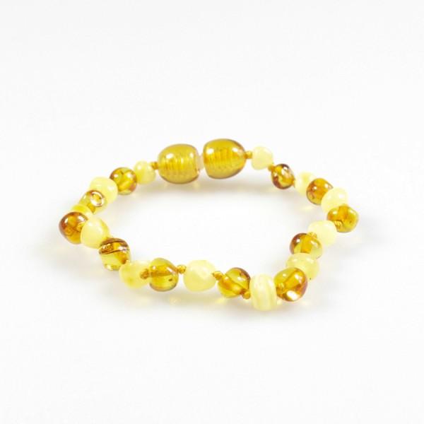 Bracelet ambre bébé miel et blanc