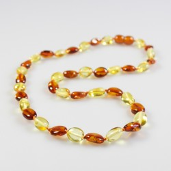 Bi-colour amber necklace with olive shape amber beads, adult size