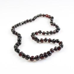 collar de perlas de color ámbar para adultos cereza