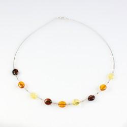 Collier d'ambre naturel avec perle d'ambre multicolore