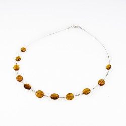 Adult honey amber necklace on steel cable