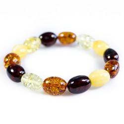 Multicolored natural amber bracelet