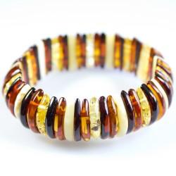 Bracelet d'ambre multicolore forme demi-lune