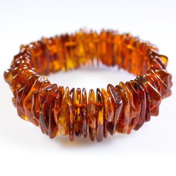 Bracelet d'ambre cognac forme naturel