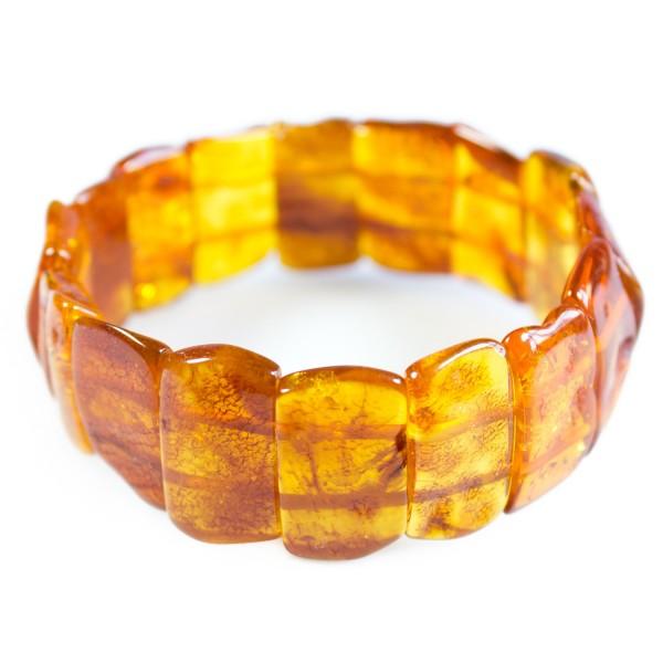 Bracelet ambre adulte forme naturel couleur miel