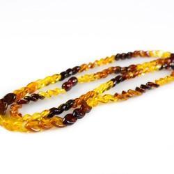 Collier long d'ambre naturel multicolore, pierre losange