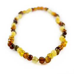 Multicolour natural amber necklace, round pearl