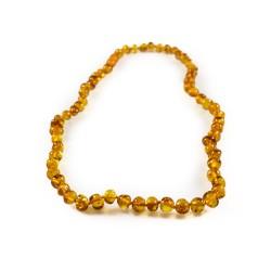 Collier ambre cognac adulte perle ronde