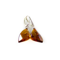 Amber cognac and silver earring