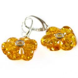 forma orecchino del fiore ambra naturale