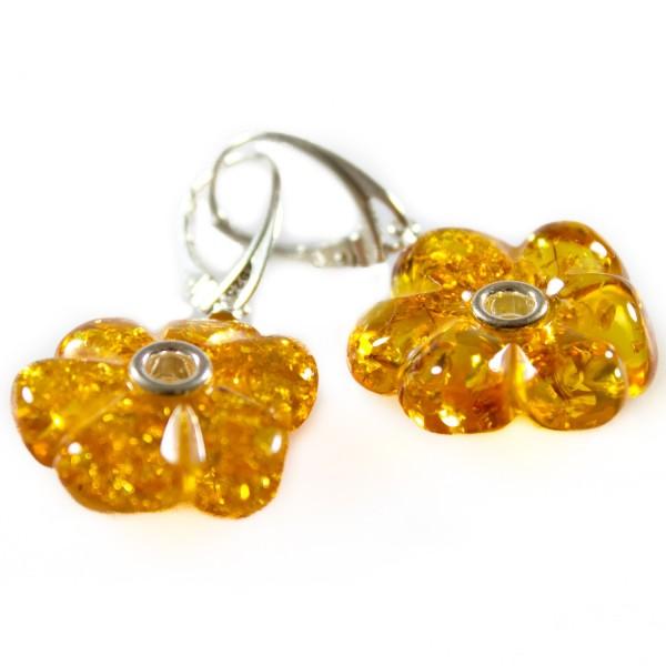 Boucle d'oreille en ambre naturel en forme de fleur
