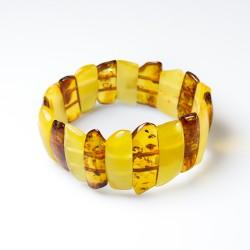 Natural amber bracelet bi-colored cognac and royal