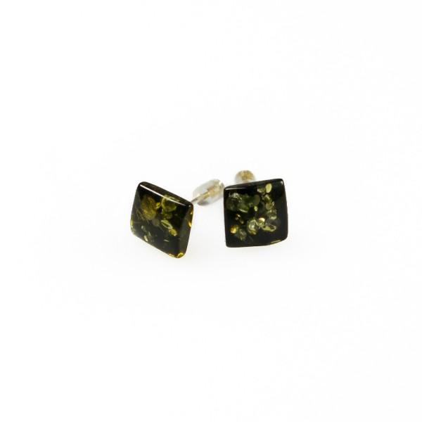 Boucle d'oreille carré en ambre vert