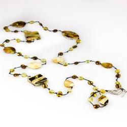 Langer erwachsene Bernstein Halskette mit Bernstein Mosaiksteine