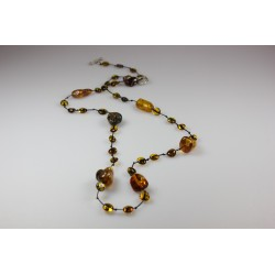 Amber necklace for adult honey and cognac