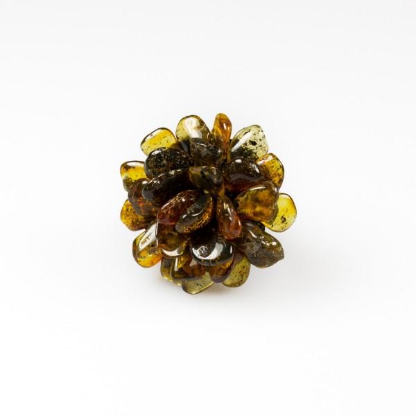 Bague en ambre couleur vert en forme de fleur