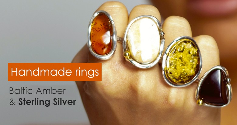Baltic amber ring with Sterling Silver