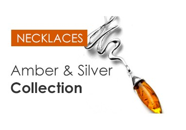 Amber necklaces with silver